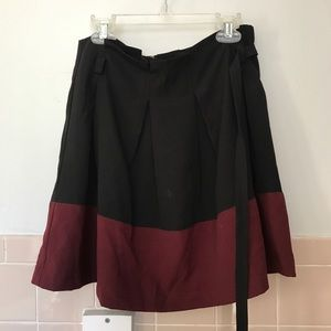 LOVE RICHE black and maroon flared mini skirt